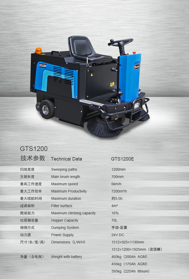 GTS1200 Ride On Sweeper